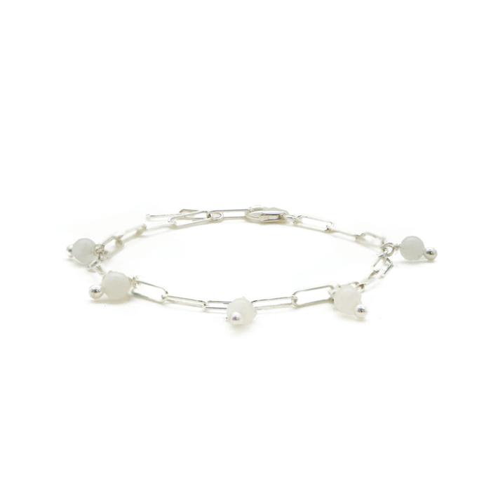 Bracelet Imagine en argent massif et pierre de Lune - AGLAÏA & CO
