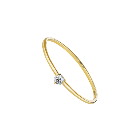 Bague en or jaune et diamant solitaire - ARISTOCRAZY