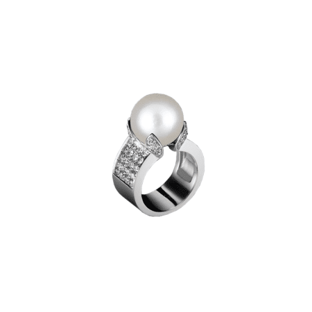 Bague Pluie d'Orient en or blanc, diamants et perle South Sea - BRIGITTE ERMEL