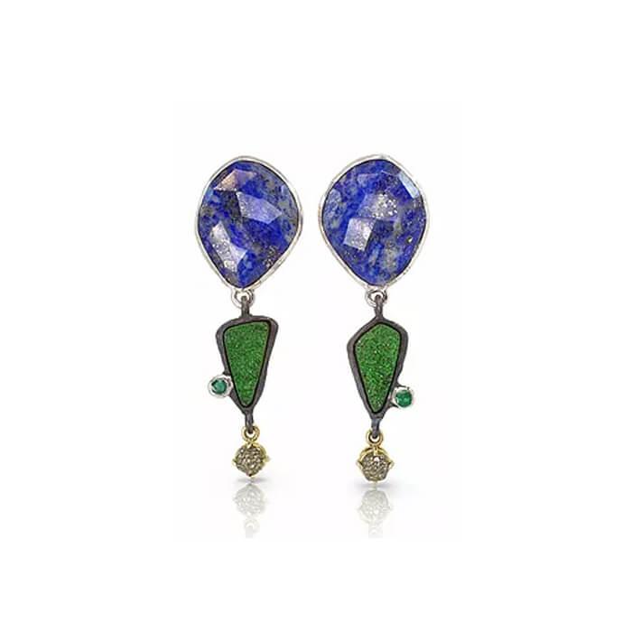boucles-d-oreilles-jardin-sous-nuit-etoilee-en-argent-massif-en-or-et-pierres-coloriees-lapis-lazuli-emeraudes-vanadinite-pyrites-gaston-bijoux