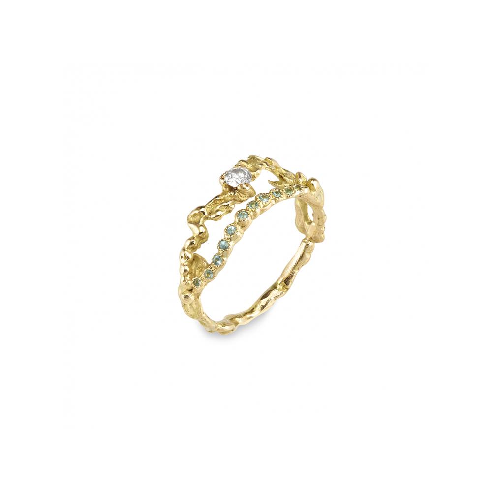 """Bague """"Rivière de diamants"""" en or jaune, diamant et tourmalines paraïba - ANAÏS RHEINER JOAILLERIE"""