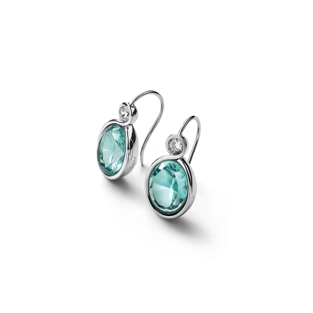"""Boucles d'oreilles """"Croisé"""" en argent, cristal turquoise et oxyde de zirconium - BACCARAT BIJOUX"""