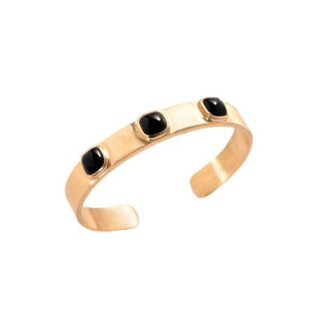 Bracelet jonc en plaqué or jaune et agates noires – BIJOUX CN