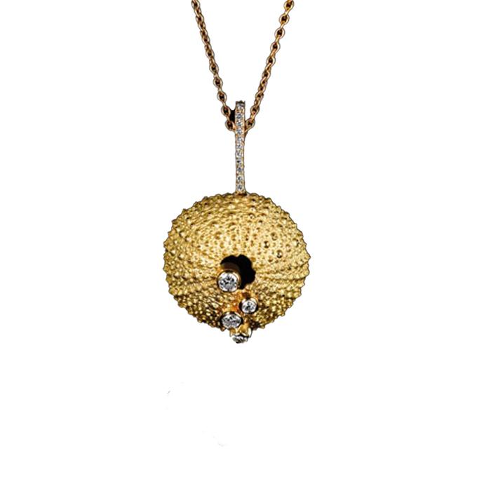 """Collier """"Oursin"""" en or jaune et diamants - ERIC HUMBERT"""