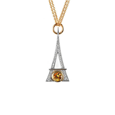 "Pendentif ""Eiffel"" en or jaune, saphir jaune et pavés diamants – ERIC HUMBERT"