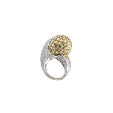 Bague en or gris, diamants jaunes et diamants – ERIC SCHAIX