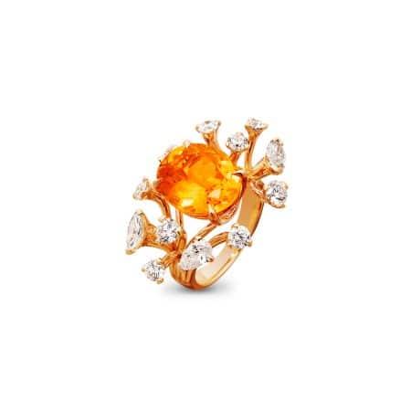 "Bague ""Morphée"" en or rose, grenat spessartite et diamants - GIULIANI JOAILLIER"