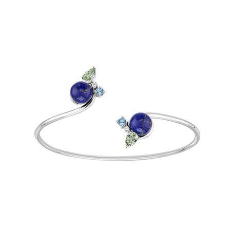 """Bracelet ouvert """"L'oiseau tonnerre"""" en or blanc, lapis lazuli, topazes, quartz, diamants - LALIQUE"""