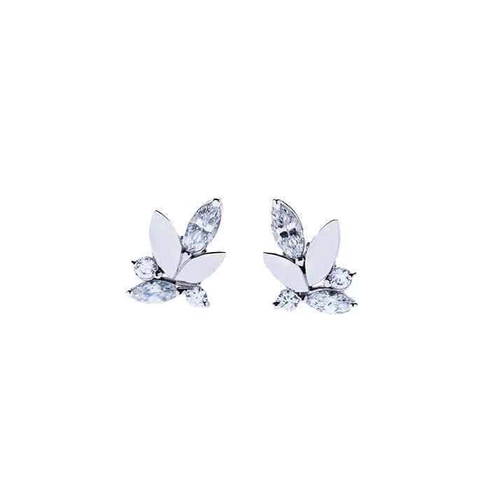 """Boucles d'oreille """"Sines"""" en or gris palladié et diamants – MARIUSSE ET BONNET"""
