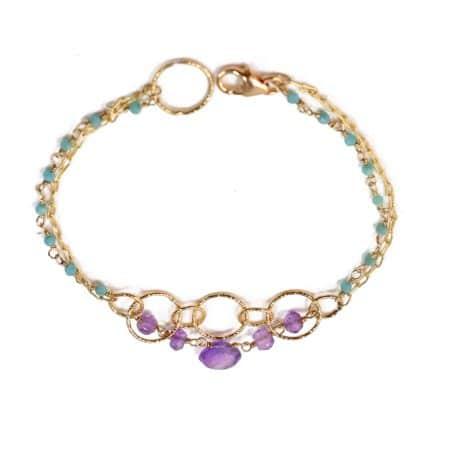 """Bracelet """"Impressions"""" en vermeil, calcédoines bleues et améthystes - MATHILDE SIMON"""