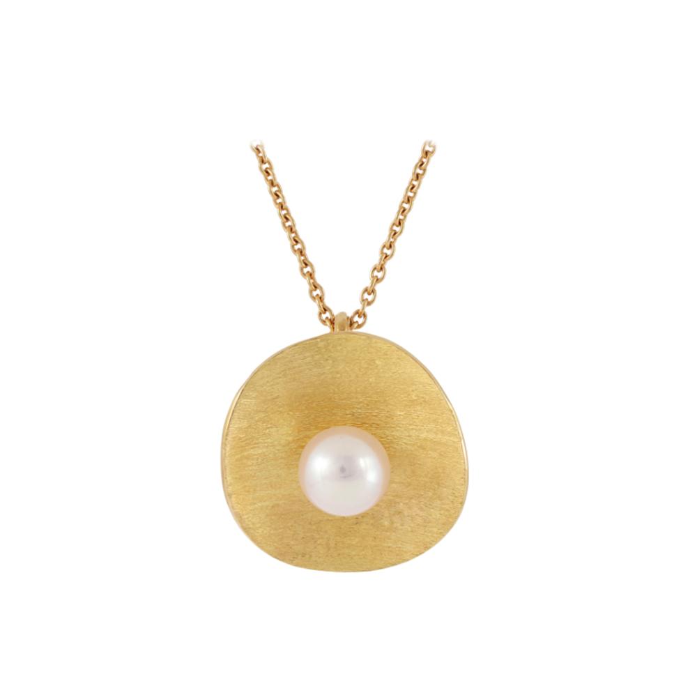 """Collier """"Perle de rosée"""" en or jaune et perle blanche - MICHÈLE BASCHET PARIS"""