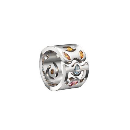 """Bague """"Malevitch"""" en or blanc et diamants de couleurs - ANTOINE CHAPOUTOT"""