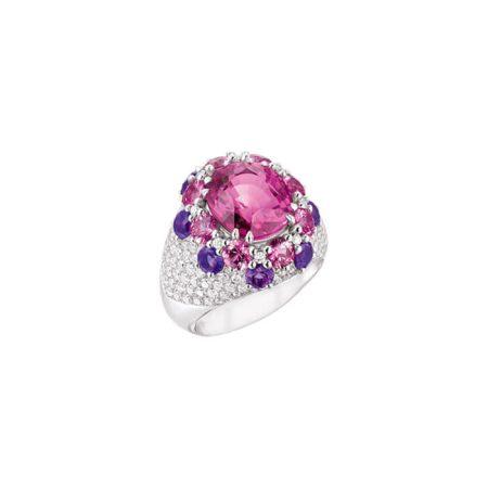 """Bague """" Rose """" en or blanc, saphirs, tourmalines et diamants - CALLISTOREA"""