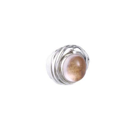 """Bague """"Lune rousse"""" en argent et quartz naturel à effet lunaire - KARINE NIEMAND"""