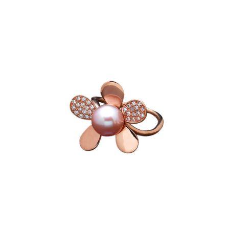 """Bague """"Parure Fleurs"""" en or rose, perle rose et diamants - MAISON PORCHET"""