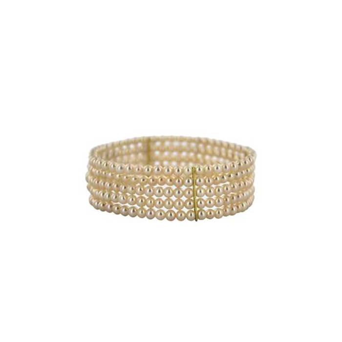 Bracelet élastique en or jaune et perles d'eau douce Chine – SCHMITTGALL